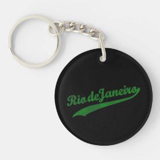 RiodeJaneiro en letras verdes Llavero Redondo Acrílico A Una Cara