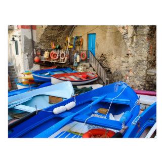 Riomaggiore Boats in Cinque Terre Italy Postcard