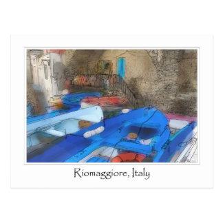 Riomaggiore Cinque Terre Italy Boats Postcard