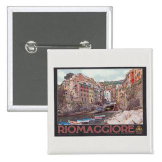 Riomaggiore Harbor (black) 2 Inch Square Button