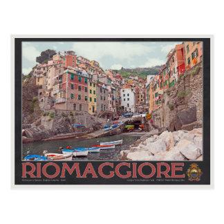 Riomaggiore Harbor (black) Postcard