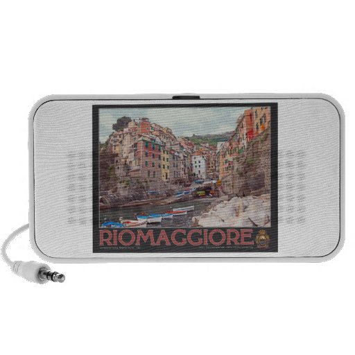 Riomaggiore Harbor - on Black.jpg Mini Speaker