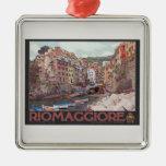 Riomaggiore Harbor - on Black.jpg Christmas Ornament