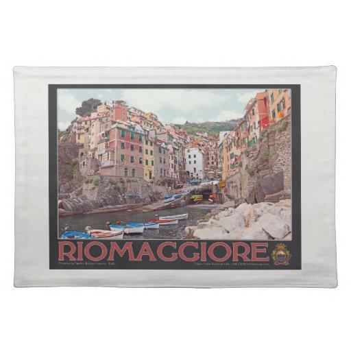 Riomaggiore Harbor - on Black.jpg Place Mats