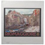 Riomaggiore Harbor - on Black.jpg Printed Napkins