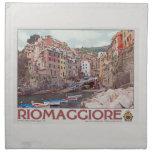 Riomaggiore Harbor - on White.jpg Printed Napkin