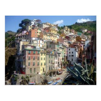 riomaggiore hill postcard