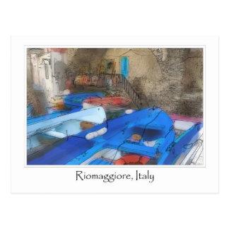 Riomaggiore Italy Watercolor Painting Postcard
