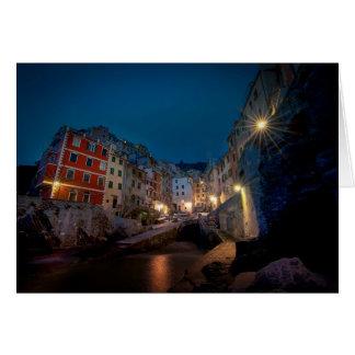Riomaggiore village at night, Cinque Terre, Italy Greeting Card