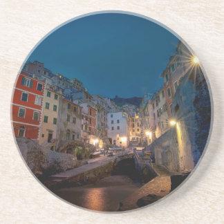 Riomaggiore village at night, Cinque Terre, Italy Drink Coaster