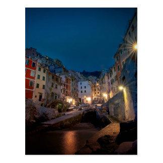 Riomaggiore village at night, Cinque Terre, Italy Postcard