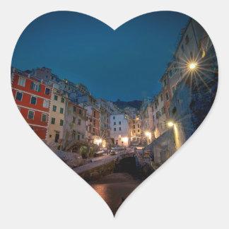 Riomaggiore village at night, Cinque Terre, Italy Heart Sticker