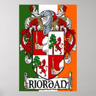Riordan Coat of Arms Irish Flag Print