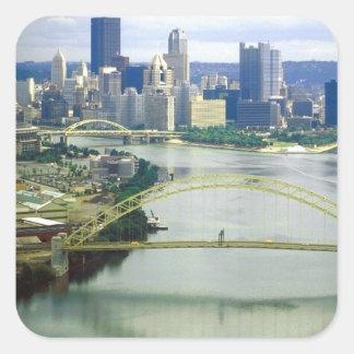 Ríos de Pittsburgh Pennsylvania Pegatina Cuadrada