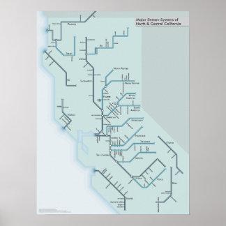"""Ríos del norte y centrales de California 18"""" x 24"""" Póster"""
