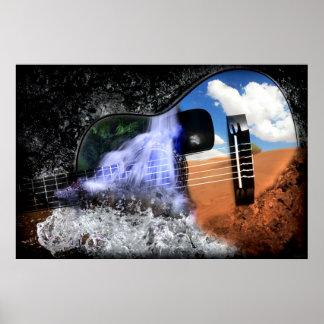 Ríos en el desierto (poster del arte de la guitarr