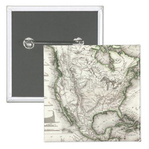 Ríos y montañas norteamericanos pin cuadrado