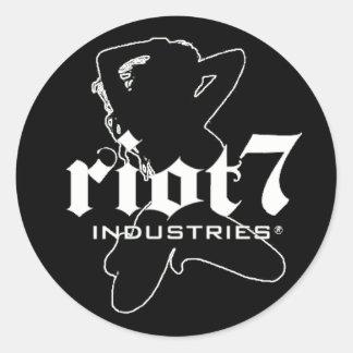 riot 7 industries girl classic round sticker