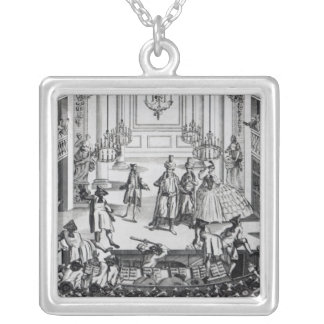 Riot at Covent Garden Theatre in 1763 Square Pendant Necklace