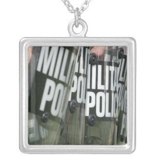 Riot control formation square pendant necklace