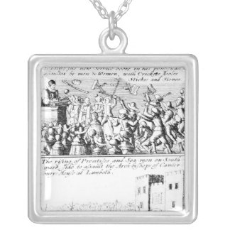 Riot in St. Giles' Cathedral, Edinburgh Square Pendant Necklace