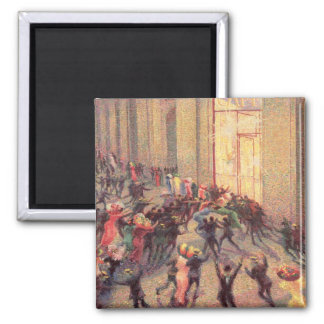 Riot in the Galleria, 1909 (oil on canvas) 2 Inch Square Magnet