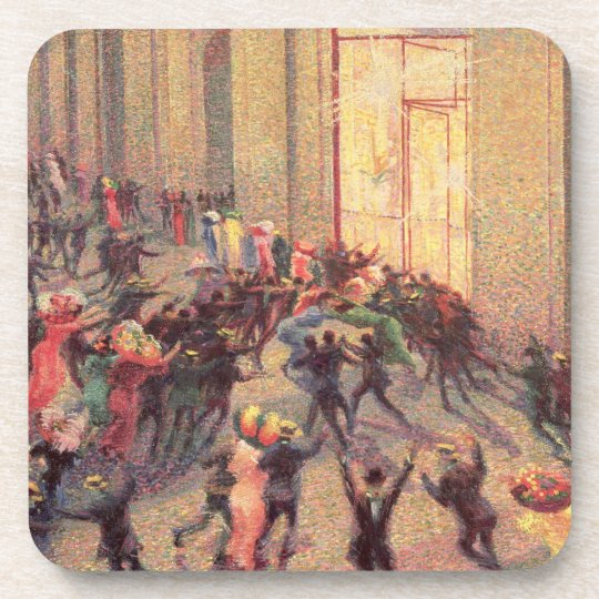 Riot in the Galleria, 1909 (oil on canvas) Beverage Coaster