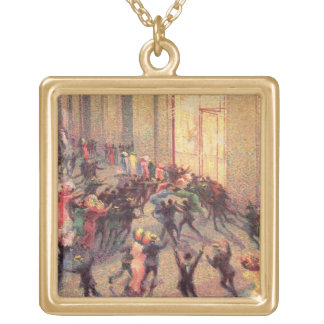 Riot in the Galleria, 1909 (oil on canvas) Square Pendant Necklace