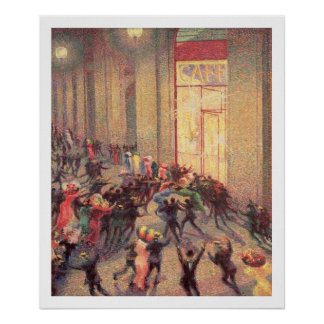 Riot in the Galleria, 1909 (oil on canvas) Poster