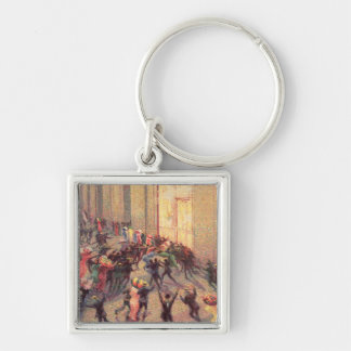 Riot in the Galleria, 1909 (oil on canvas) Silver-Colored Square Keychain