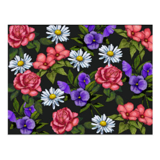 Riot of FLOWERS on Black: Original Art, Floral Postcard