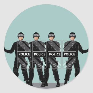 Riot Police with shields Classic Round Sticker