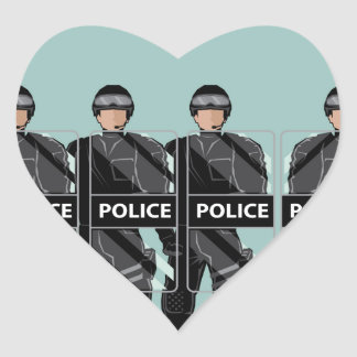 Riot Police with shields Heart Sticker