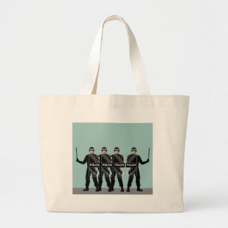 Riot Police with shields Large Tote Bag