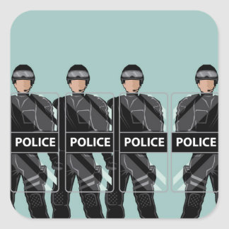 Riot Police with shields Square Sticker