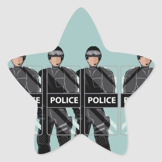Riot Police with shields Star Sticker