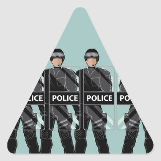 Riot Police with shields Triangle Sticker