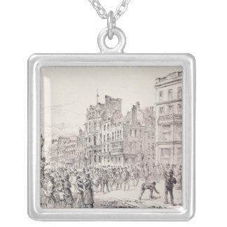 Riots in the West End of London Square Pendant Necklace
