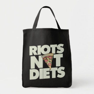 riots not diets grocery tote bag