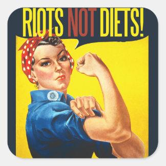Riots not Diets - vintage feminism Square Sticker
