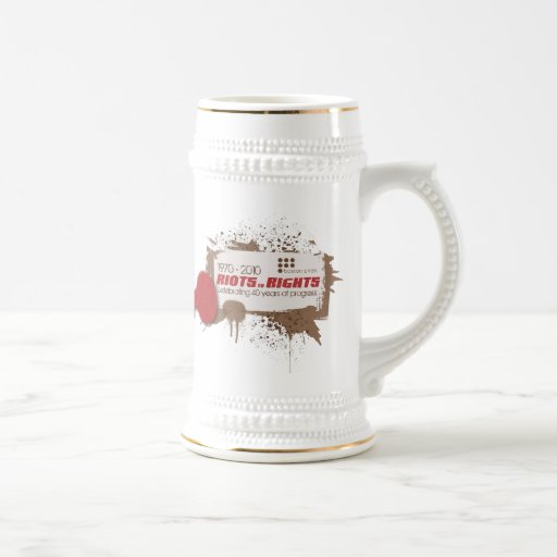 Riots White Stein 18 Oz Beer Stein