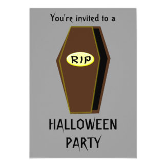 RIP Coffin of Doom Halloween Party Customizable 5x7 Paper Invitation Card