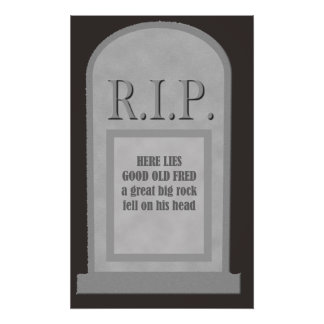 RIP Halloween Here Lies Fred Tombstone Poster