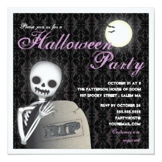 RIP Halloween Party Skeleton and Full Moon Invitation