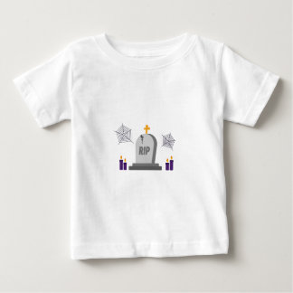 RIP Halloween Tombstone in graveyard with candles Baby T-Shirt