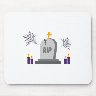 RIP Halloween Tombstone in graveyard with candles Mouse Pad