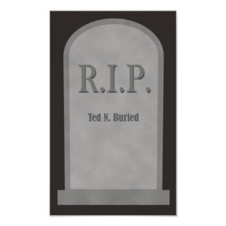 RIP Halloween Tombstone Ted N. Buried Poster
