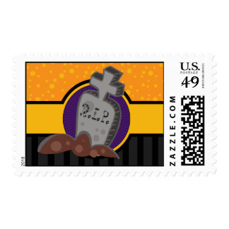 RIP Headstone Halloween Postage Stamps