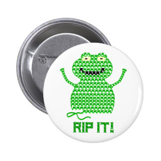 Rip It! Vector Crochet Frog Pinback Button