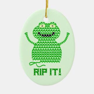 Rip It! Vector Crochet Frog (Green Background) Ceramic Ornament
